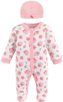Luvable Friends Pink & White Floral Footie & Beanie - Newborn
