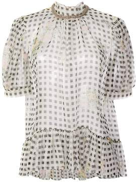Christopher Kane gingham puff sleeve top