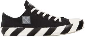 Off-White Striped Cotton Canvas Sneakers