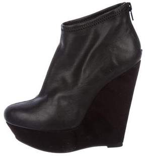 Halston H by Leather Wedge Boots