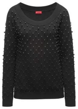 HUGO Boss Embellished Cotton-Wool-Silk Sweater Sempera S Black