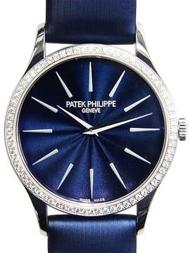 Patek Philippe Calatrava Blue Dial Diamond 18kt White Gold Ladies Watch
