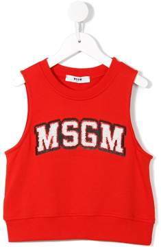 MSGM sequin embroidered logo top