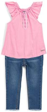 Hudson Little Girl's Two-Piece Ruffle-Sleeve Top and Jeans Set