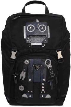 Prada Nylon Backpack W/ Leather Robot Patches
