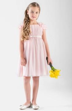 Us Angels Girl's Petal Sleeve Chiffon Dress