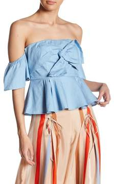 Flying Tomato Twist Front Chambray Top