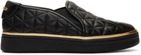 Balmain Black Quilted Slip-On Sneakers