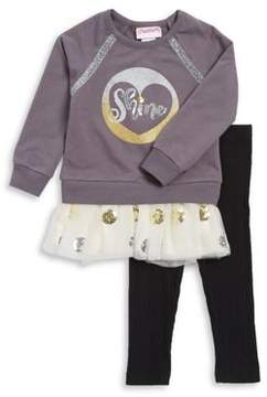 Flapdoodles Little Girl's Two-Piece Graphic Sweater Dress and Leggings Set