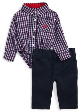 Andy & Evan Infant Boy's Shirtzie Check Bodysuit & Pants Set