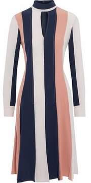 Derek Lam Cutout Striped Paneled Silk Crepe De Chine Dress