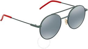 Fendi Khaki Mirror Blue Round Sunglasses FF 0221/S 1ED/3U