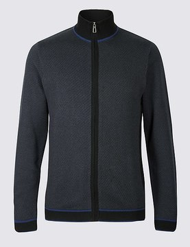 Marks and Spencer Pure Cotton Slim Zipped Through Cardigan