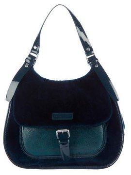 Longchamp Leather-Trimmed Shearling Satchel