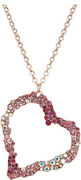 Betsey Johnson Pink and Rose Gold Long Heart Pendant Necklace Necklace