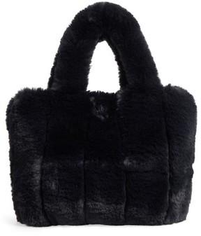Street Level Faux Fur Tote - Black