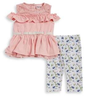 Little Lass Baby Girl's Two-Piece Ruffled Lace Top and Floral Capris Set