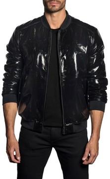 Jared Lang Men's Trim Fit Shiny Black Bomber Jacket
