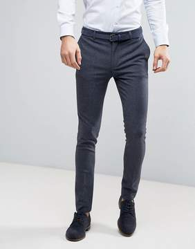 Asos WEDDING Super Skinny Suit Pants in Mini Check In Blue