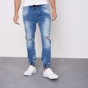 River Island Mens Mid blue Ryan jogger jeans
