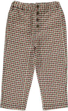 Caramel Mizuna Checked Linen Trousers