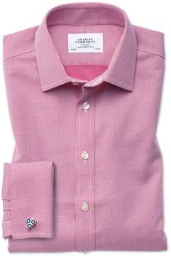 Charles Tyrwhitt Extra Slim Fit Non-Iron Square Weave Magenta Cotton Dress Shirt Single Cuff Size 14.5/33
