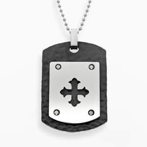 Lynx Stainless Steel Black Ion Cross Dog Tag - Men