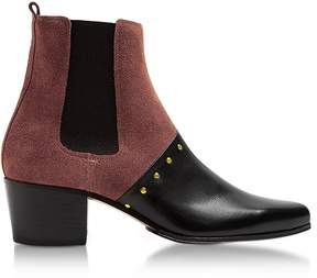 Balmain Artemisia Black Leather and Burgundy Suede Boots