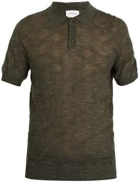 Brioni Point-collar wool-blend knit polo shirt