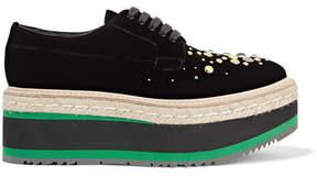Prada Embellished Velvet Platform Brogues - Black