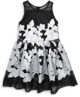 Halabaloo Little Girl's & Girl's Embroidered Floral Fit-&-Flare Dress
