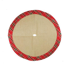 Asstd National Brand 20 Decorative Burlap Mini Christmas Tree Skirt with Red Plaid Border