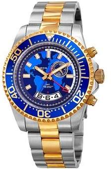 Akribos XXIV Blue Globe Dial Two Tone Stainless Steel Men's Watch