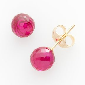 Ball 14k Gold Lab-Created Ruby Stud Earrings
