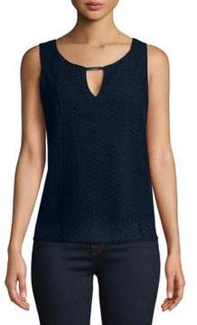 Ellen Tracy Eyelet Sleeveless Top
