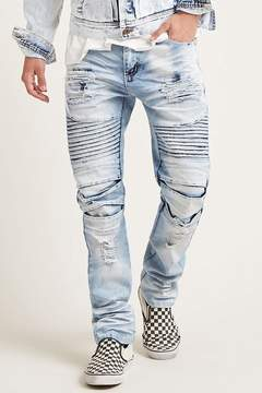 21men 21 MEN Victorious Faded Moto Jeans