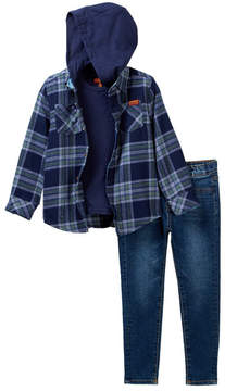 7 For All Mankind Hooded Shirt, Tee, & Jeans Set (Toddler Boys)
