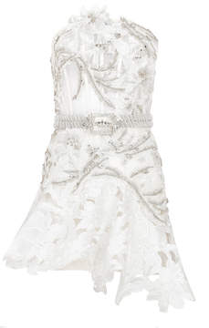 Raisa Vanessa White Strapless Mini Dress With Lace And Embroidery
