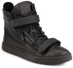 Giuseppe Zanotti Matte Double-Bar High-Top Sneakers