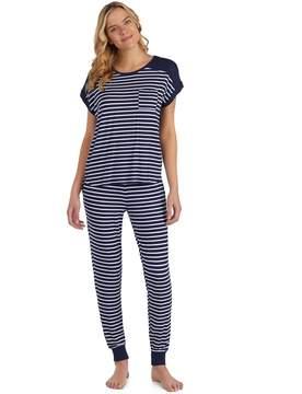 Cuddl Duds Women's Striped Keyhole Tee & Jogger Pajama Set