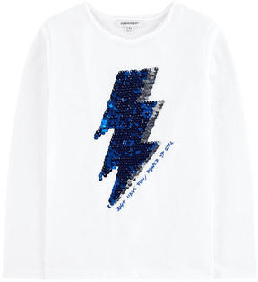 3 Pommes Graphic T-shirt with reversible sequins