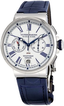 Ulysse Nardin Marine White Dial Automatic Men's Leather Watch