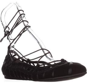 Bar III B35 Phoebe Lace Up Ballet Flats, Black.