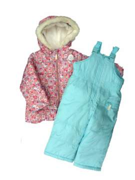 Carter's Infant Girl 2 PC Floral Hooded Ski Coat Jacket Snow Bibs Snowsuit 24m