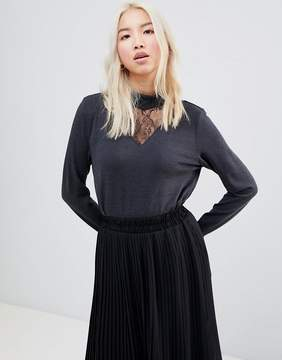 B.young High Neck Lace Insert Blouse