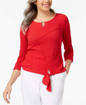 Alfred Dunner Barcelona Keyhole Tie-Front Blouse