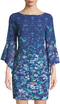 T Tahari Floral Mini Dress w/ Flared Sleeves