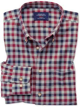 Charles Tyrwhitt Slim Fit Button-Down Non-Iron Twill Red and Navy Gingham Cotton Casual Shirt Single Cuff Size XS