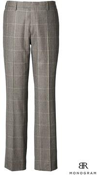 Banana Republic Slim Monogram Brown Plaid Wool Suit Trouser