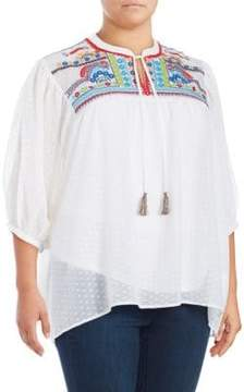 Context Plus Embroidered Tasseled Blouse